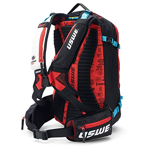 USWE Pow 16L, Ski and Snowboard Backpack with Back Protector, for Men and Women. Insulated Snow Hydration Pack with Thermo Cell Freeze Protection. Bounce Free. Black.