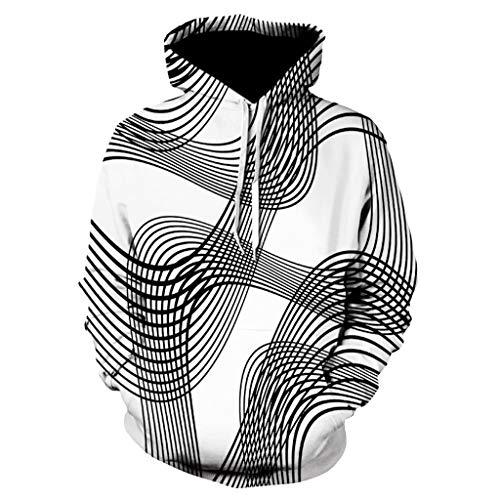 Xmiral Hoodies Herren Sweatshirt 3D Digital Vortex Printed Langarm mit Kapuze Oberseiten-Bluse (XL,D)