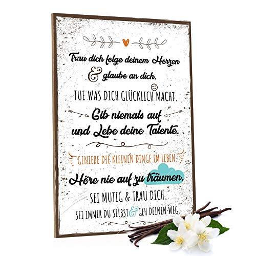 GRAVURZEILE Holzschild mit Spruch - Folge Deinem Herzen - Moderne Kunstdrucke auf Holz - Wand Dekoration im Vintage-Look Kunstdruck für Familie Freunde in Küche Home & Co