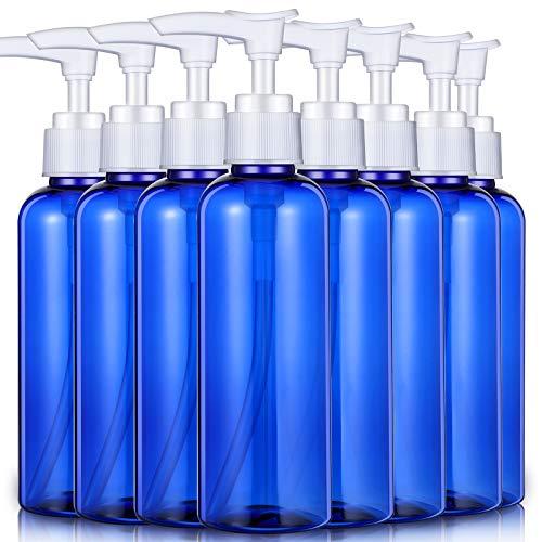 8 Piezas 200 ml/ 6,8 oz Botellas Vacías de Plástico Botella de Bomba de Champú Botellas Dispensadoras para Líquidos Cosméticos Viaje de Negocios (Azul)