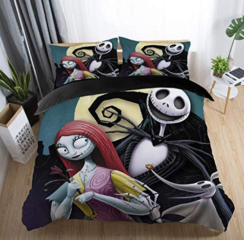 Felu Bedding Duvet Cover Set of Kids, The Nightmare Before Christmas Pattern Comforter Cover Set with 1 Duvet Cover and 2 Pillowcases (Queen Size)