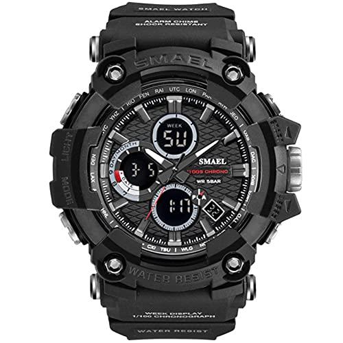 JTTM Reloj Analógico Digital Militar Reloj Deportivo Hombres Dual Dial Negocio Casual Multifunción Relojes De Pulsera Electrónicos Reloj Resistente,Negro