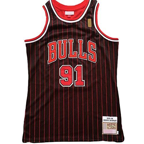 YHIU Herren-Basketballtrikot - Dennis Rodman # 91, Chicago Bulls Vintage-Trikot, ärmelloses T-Shirt, klassisch-L