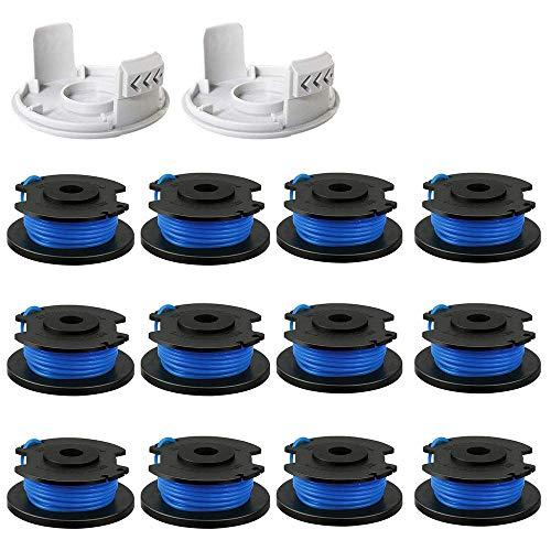 Bobine de fil de rechange pour débroussailleuse Ryobi One+ AC14RL3A 18 V, 24 V, 40 V, pour débroussailleuse sans fil Black and Decker (12 bobines + 2 bouchons)