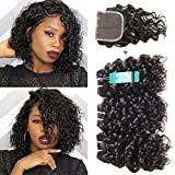 Malaysian Water Wave Bundles with Closure, 10A Ocean Wave Wet & Wavy Human Hair Bundles with Closure, 100% Human Hair Weave Extensions Remy Hair Bundles Water Curly Hair (8 8 8+8inch)
