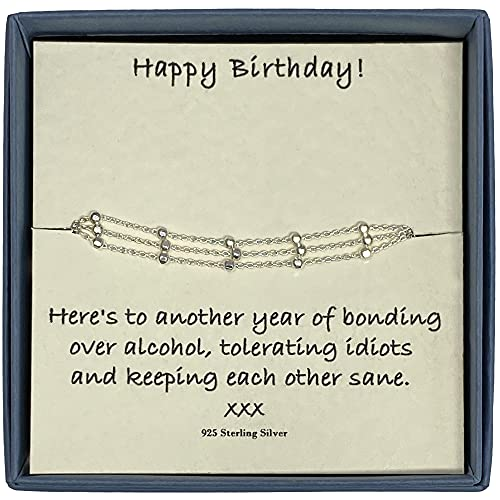 Happy Birthday - Pulsera de plata de ley con triple diamante