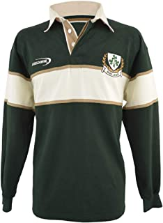 Polo Shirt with Cream & Gold Stripe and Ireland Shamrock Crest