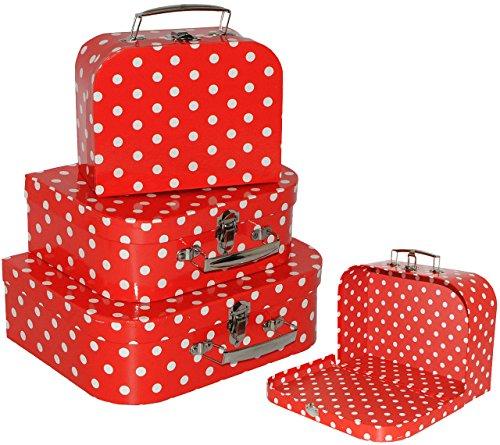 alles-meine.de GmbH 1 Stück _ Kinderkoffer / Koffer - KLEIN -  Punkte - rot & weiß  - ideal für Spielzeug und als Geldgeschenk - Mädchen & Jungen - Kinder & Erwachsene - Pappe ..