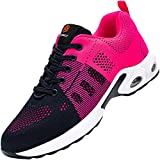 Zapatos de Seguridad Mujer,Zapatillas de Seguridad Zapatos de Trabajo Calzado de Trabajo con Punta de Acero Ligeros (Rosa Fuego,35 EU)