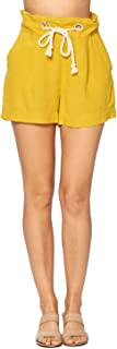 Ci Sono Women's Casual Summer Solid Drawstring Elastic High Waist Linen Shorts