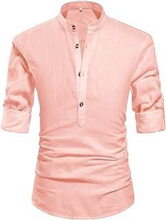 ZYFMAILY Men's Band Collar Long Sleeve Solid Linen Shirt Casual Beach Henley Shirt