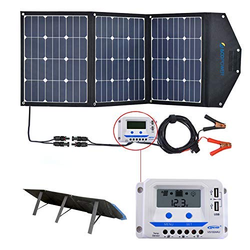ACOPOWER 120W Portable Solar Panel, 12V Foldable Solar Charger with 10A Charge...