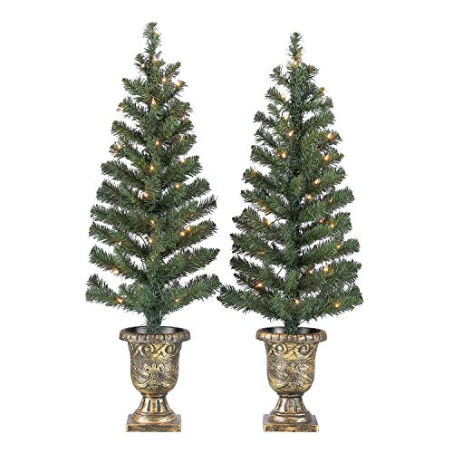 GDE Light up Your Porch or Patio with Holiday Time 3.5ft Twin Pre-Lit Artificial Christmas Trees with 35 Clear Lights,Green (2 pk),for Indoor/Outdoor use,Makes a Gorgeous Addition to Your Holiday