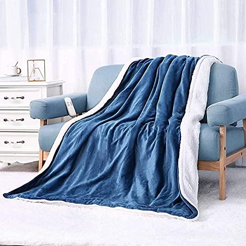 Couverture chauffante 180x130cm avec 6 niveaux de chauffage et (1-5H) protection contre l'extinction automatique et la surchauffe, pour la maison et le bureau, flanelle bleue lavable