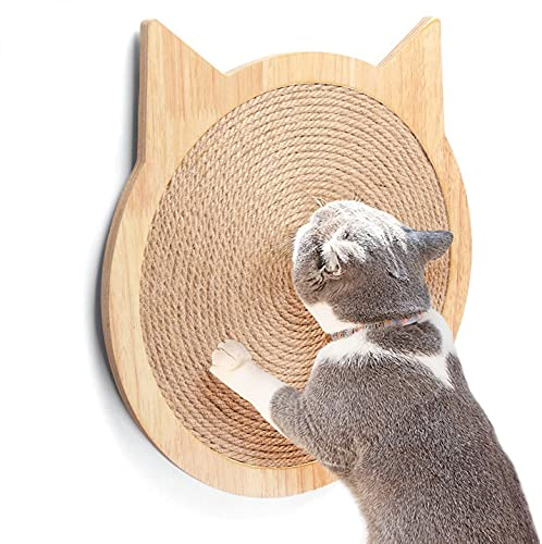 HC - Almohadillas para rascar en forma de gato para gatos y gatitos, rascador para gatos de sisal de pared, tablero para rascar con ventosa fuerte, muebles de madera para gatos (M)