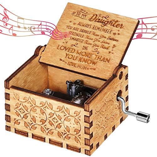 OMZGXGOD Caja de música de Madera manivela, Caja de Música de Manivela de Madera Caja Musical Tallada a Mano del Tema Retro Mejor Regalo para Pareja Niños Amigos (Madre a Hija)