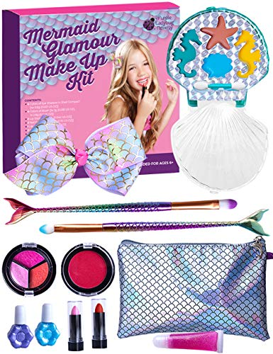 Purple Ladybug Mermaid Makeup Set for Girls! Safe and Washable Mermaid Themed Makeup Kit for Little Girls with a Handy Wristlet, Lipstick, Blush, Eye Shadow, & More! Great Gift Idea for Kids & Teens!