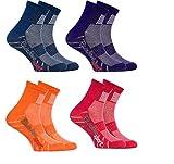 Rainbow Socks - Ragazza Ragazzo Colorate Calzini Sportivi di Cotone - 4 Paia - Jeans Porporaa Naranja Rojo - Taglia 30-35