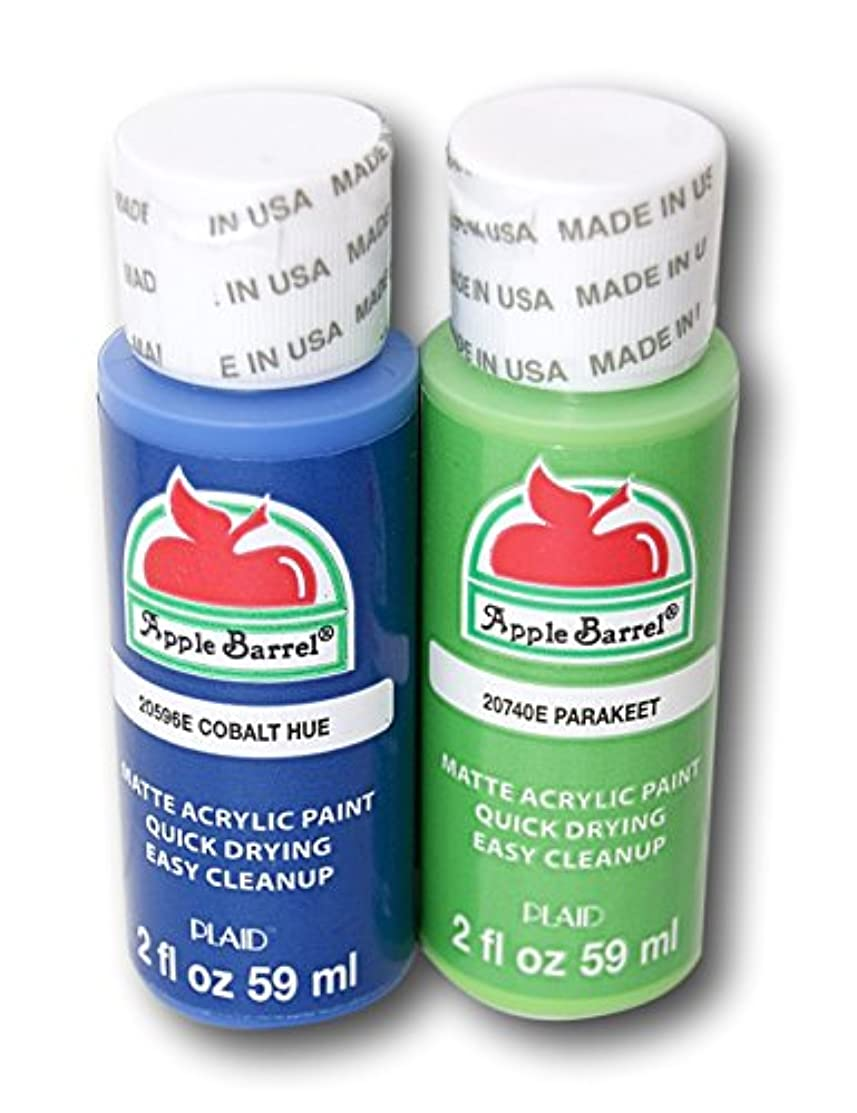 Apple Barrel Acrylic Paint Set - Cobalt Hue & Parakeet (2 Ounces Each)