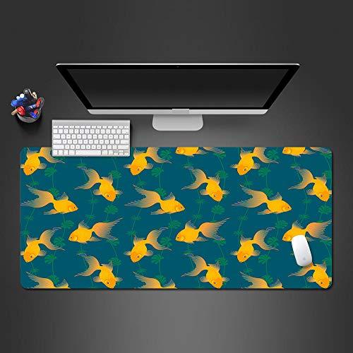 LJUKO Mouse Pad 900X400X3mm Lindo Acuático Amarillo Pez Dorado Alfombrilla Raton Gaming Grande Alfombrilla De Ratón Xxl Mouse Pad Impermeable Con Base Antideslizante Y Borde Cosido Para El Hog