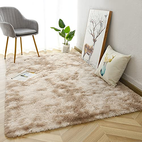 Ucomn Luxury Velvet Shag Area Rug Soft Modern Fluffy Fur Rugs,Premium Geometric Moroccan Floor Rugs for Bedroom Living Girls Room Kids Indoor Carpet, 5' x 8', Camel