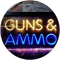 Guns and Ammo Shop Dual Color LED看板 ネオンプレート サイン 標識 青色 + 黄色 600 x 400mm st6s64-i0516-by