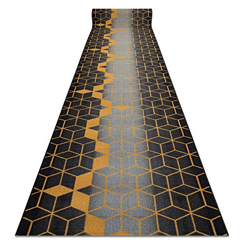Passatoia Corridoio HEKSAGON Hexagon antiscivolo, per cucina, corridoio, soggiorno, robusto, moderno, nero / oro 133x190 cm