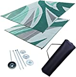 Professional EZ Travel Collection Reversible RV Outdoor Rug for Backyards, Beaches, Camping Grounds, Patios, and More, Storage Bag and Mat Stakes Included – Green Wave, 9x12