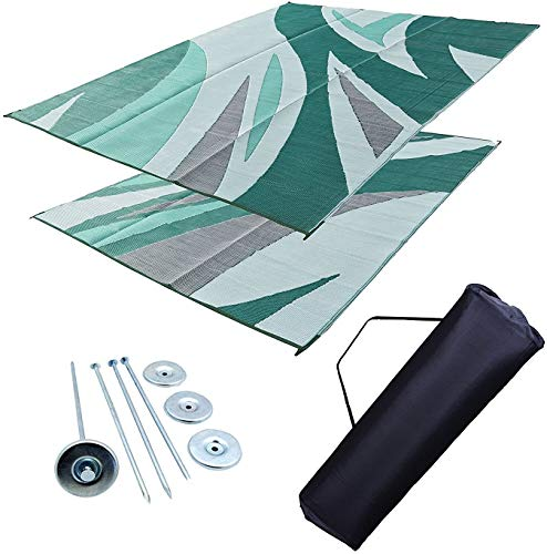 Professional EZ Travel Collection Reversible RV Outdoor Rug for Backyards, Beaches, Camping Grounds, Patios, and More, Storage Bag and Mat Stakes Included, Green Wave (9x12)