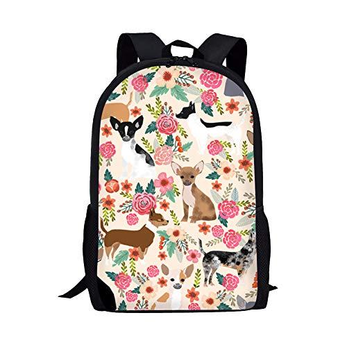 Chihuahua Lightweight Travel School Backpack for Girls Teens Kids Boys