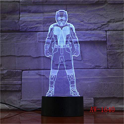 Lampada Da Illusione 3D Lampada Da Notte A Led Ant-Man Marvel Hero Lampadario 7 Cambia Colore Lampada Da Tavolo Usb Bambino Bambino Ragazzo Regalo Di Capodanno Decorazione Domestica