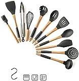 Utensilios de cocina de silicona: sin Bpa,no tóxico,resistente al calor,antiadherente,mango antideslizante con gancho con agujeros para colgar en la pared,utensilios de cocina,utensilios para hornear