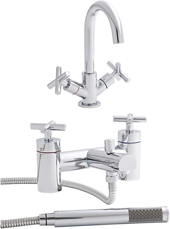 Home Standard? Acel Bathroom Chrome Basin Sink Mixer & Bath Shower Mixer Tap Package