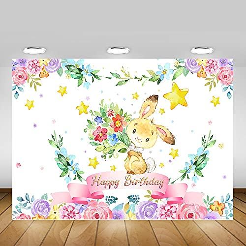 Conejo Floral Feliz cumpleaños Fiesta telón de Fondo decoración Acuarela Flores Conejito cumpleaños Fondo fotografía A1 5x3ft / 1,5x1m