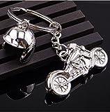 Sportigo ® Motorrad mit Motorradhelm Schlüsselanhänger in der Farbe Silber/Biker Geschenk
