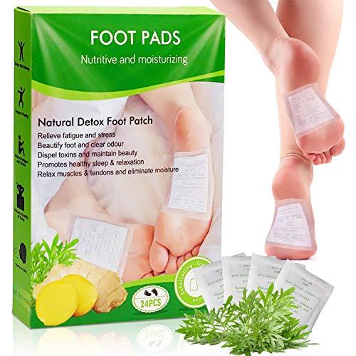 Faffooz 24 Pcs Detox Fußpflaster Natürliche Fusspflaster zur Entgiftung Fußpflegekissen Wird Verwendet, um Giftstoffe aus dem Körper zu Entfernen, Stress Abzubauen und den Schlaf zu Verbessern