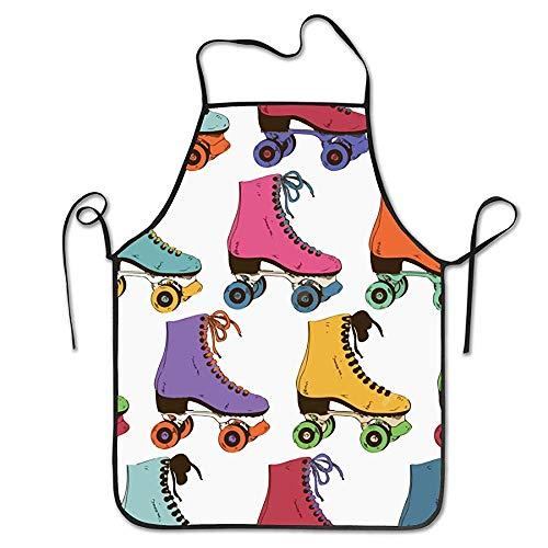 NA Grill Backen BBQ Schürzen für Kinder und Männer, Maschinenwaschbar Küchenschürze Retro Bunte Rollschuhe ohne Taschen für den täglichen Gebrauch,