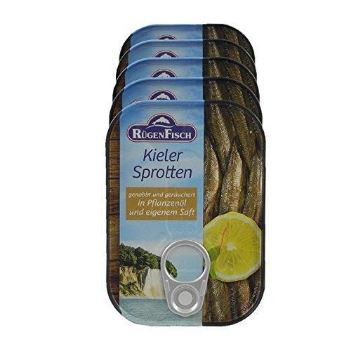 Rügenfisch Kieler Sprotten geräuchert in Pflanzenöl (5 x 90g)