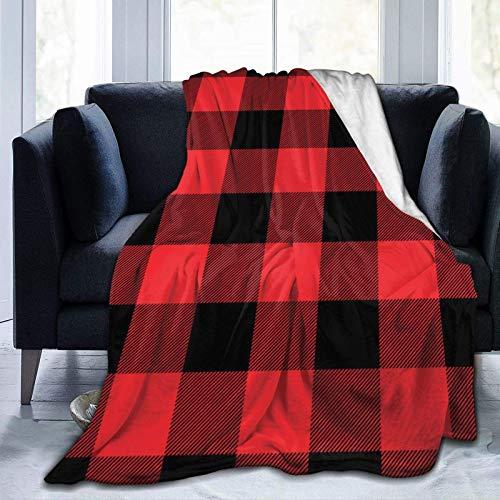 GOSMAO Ultra Soft Micro Fleece Durable Red Plaid Papel de Envolver Mantas Manta Suave y cálida Sábana para Cama Ropa de Cama Sofá Oficina Sala de Estar 60X80 Inch