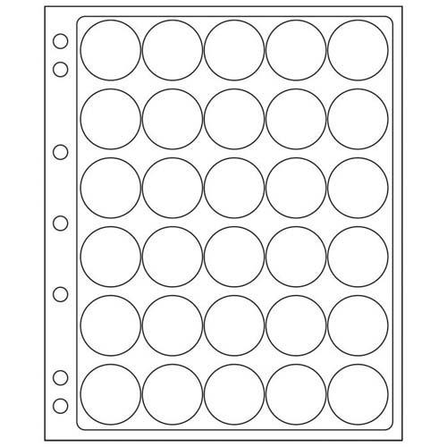 feuilles en plastique ENCAP pour 30 capsules av.un diamètre de l'int´rieur de 30 à 31 mm