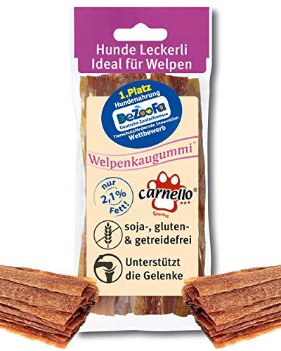 Carnello Hundeleckerli - Welpenkaugummi - Fettarme Belohnungs Leckerlis für kleine Hunde, Hunde Snack, Kausnacks ideal für Welpen, wiederverschließbar (1 x 60g)