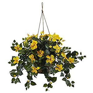 "Nearly Natural 6866-YL 22in. Hibiscus Hanging Basket,Yellow,10.125"" x 17.5"" x 10.125"""
