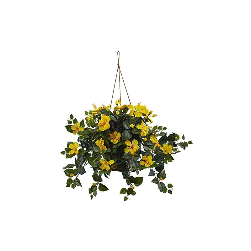 silk flower arrangements nearly natural 6866-yl 22in. hibiscus hanging basket,yellow,10.125'' x 17.5'' x 10.125''