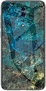 for Oppo Reno Z Case, Marble Pattern Tempered Glass Case, Anti-Fall Shock-Absorption TPU Protective Bumper Cover Case for Oppo Reno Z L&Y (Color : Emerald)