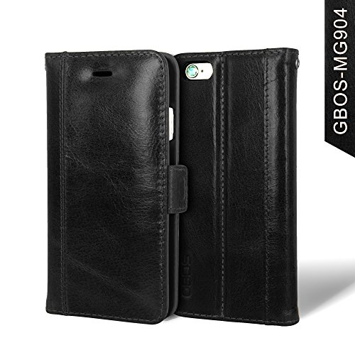 GBOS Leather Apple iPhone 5/5S/SE Case Cover/ Stand Wallet Flip Case (Black)