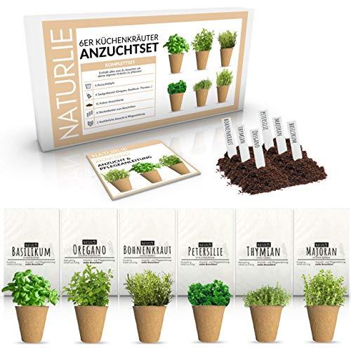 Kräuter Anzuchtset für Küche und Balkon mit 6 Kräuter Sorten von Naturlie - Kräuter Samen Set mit Anzuchterde, Anzuchttöpfen, Stecketiketten, Anzuchtanleitung als...