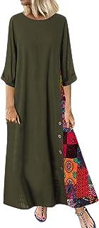 HX fashion Donna dell'Annata della Stampa Pulsanti Patchwork Slaccia Abito Dimensioni Taglie Comode Vestiti Corti di Lino ...