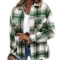 長袖チェック柄女性トッププリントシャツジャケット長袖チェック柄女性トッププリント