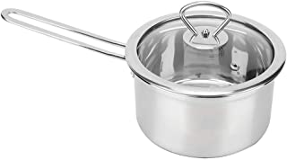 Milk Pot, Multi-Functional Stainless Steel Thickened Milk Pot Saucepan Soup Pot with Lid Small Induction Pan for Home, Coffee, Restaurant, etc.