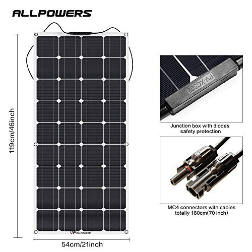 ALLPOWERS 18V 12V 100W Solar Panel Charger Monocrystalline Lightweight Flexible with MC4 Connector Charging for RV Boat Cabin Tent Car (Compatibility with 18V and Below Devices)